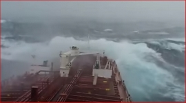 stormy sea freighter